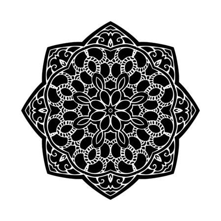 ethnics: Mandala Round Monochrome Pattern Vector Illustration