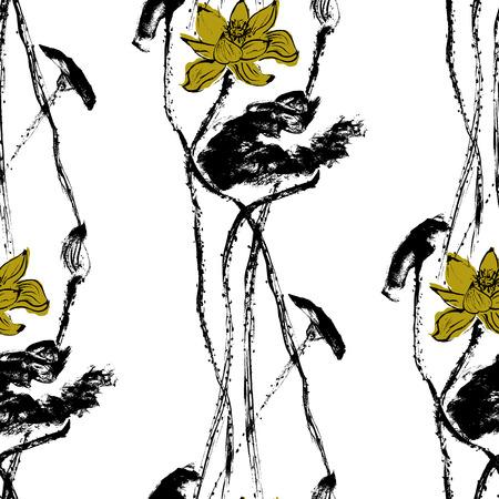 Watercolor lotus seamless Pattern. White background.