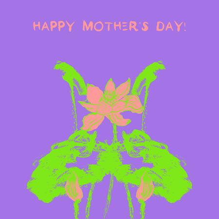 postcard: Postcard with watercolor lotus flower.