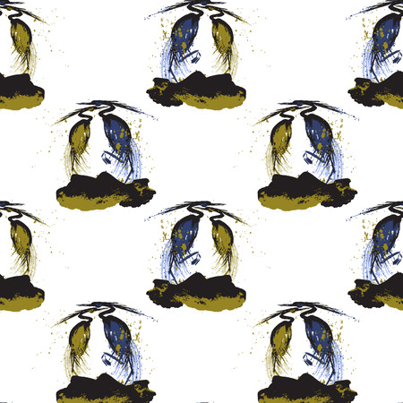 herons: Seamless pattern with herons. White background.