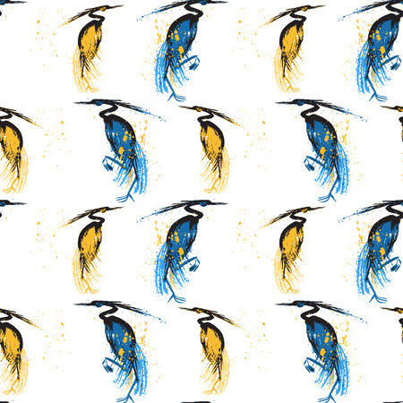 siluette: Seamless pattern with herons. White background.