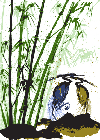 Watercolor background with bamboo and herons. White background.