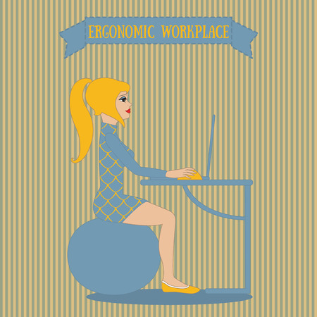 young woman sitting on fitness ball and working with computer illustration.  イラスト・ベクター素材