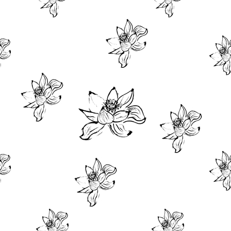 gray scale: Seamless pattern with lotus flowers. White background. Gray scale. Stock vector.