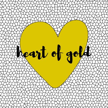 yellow heart: White and black mosaic background with yellow heart. vector illustration Illustration