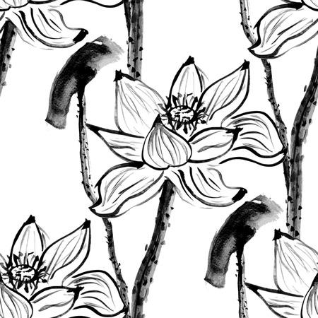Seamless avec des fleurs de lotus. Fond blanc. Échelle de gris. Illustration vectorielle. Vecteurs