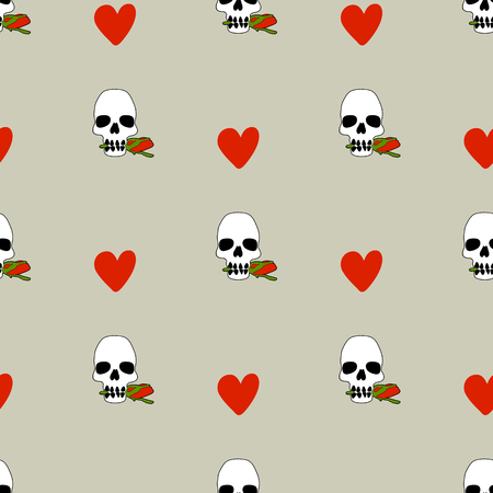 replication: Seamless pattern with hearts and skulls vector illustration