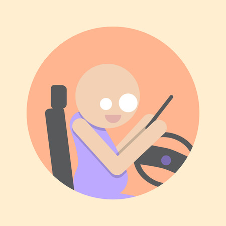 Man with Smartphone driving car. Flat icon.