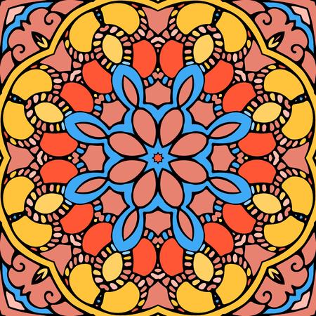 Zen style doodle round ornament background Vector Illustration