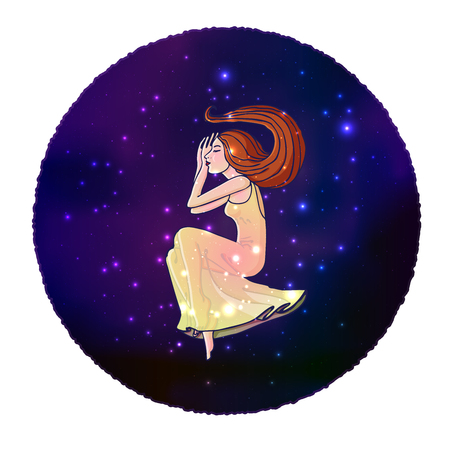 Cartoon style young woman in long transparent dress flying in space. Isolated on white. Stock Vector illustration. Imagens
