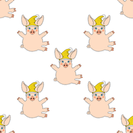 Happy sitting pink pig with yellow hat, hug greeting gesture, on a white background seamless pattern