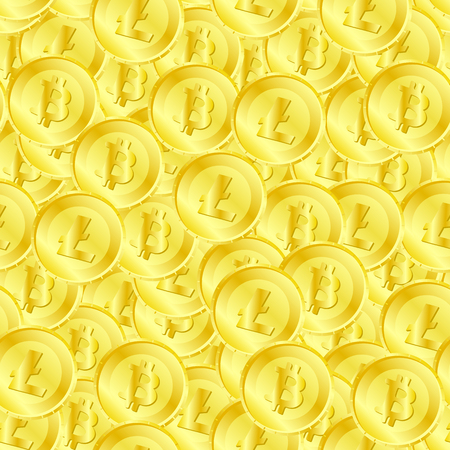 Seamless pattern of litecoin and bitcoin on coin
