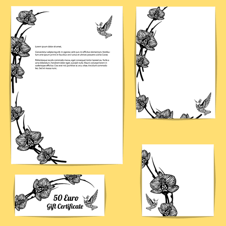 Corporate style templates with floral motifs on yellow background. Black and white orchid flowers and colibri bird.