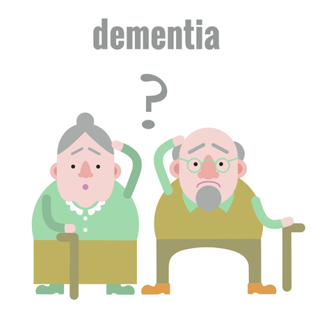 Elderly man and woman with dementia in confused state of mind. Banque d'images