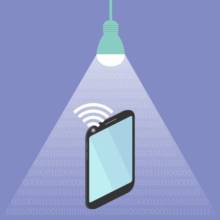 Concept of li-fi wireless internet technology, shinig led lamp, ones and zeroes in light