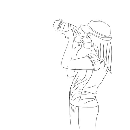 sketch of young woman taking photos with photo camera, side view, black lines on white background Standard-Bild - 111654215