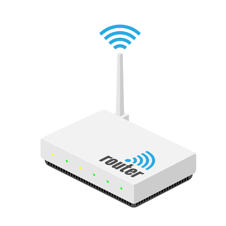 White wi-fi router with the antenna isolated on white Illustration
