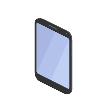 black smartphone isometric view isolated on white