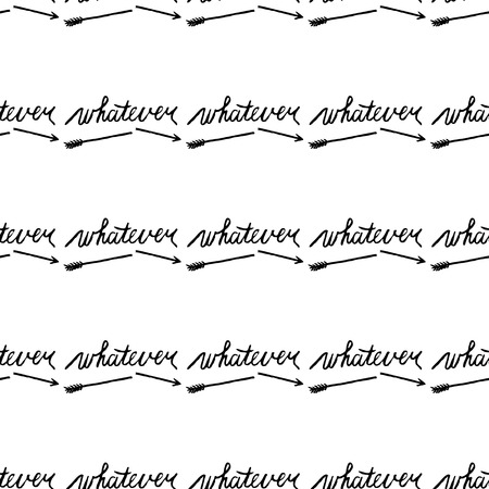 seamless pattern with the black word whatever and broken arrow on white background