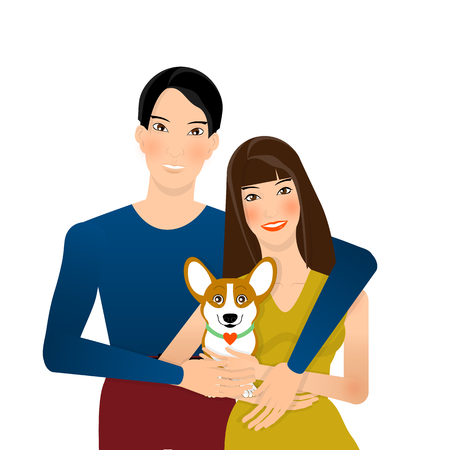 young hipster couple is hugging holding a dog in arms Stock Photo