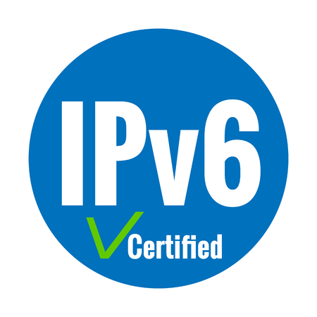 White text IPv6 certified on blue background. Green check mark. Internet Protocol version 6 label concept. Stok Fotoğraf