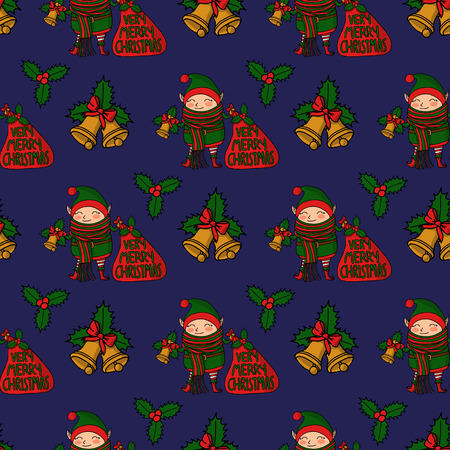 Seamless pattern with Cute funny cartoon character christmas elf with long scarf holding gift bag and a handbell, merry christmas lettering 矢量图像