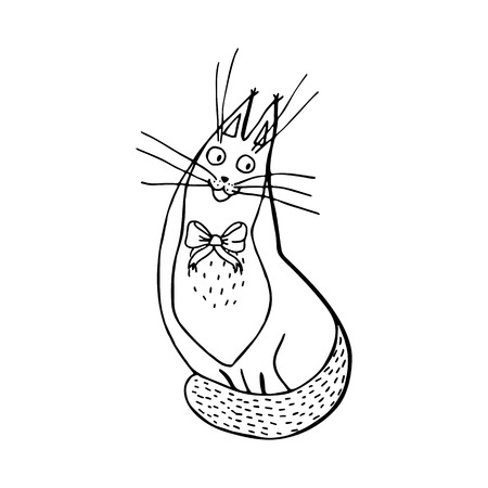 happy sitting cat with bow-knot, hand drawn character cartoon style isolated on white