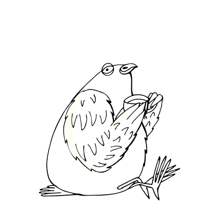 relaxed pigeon drinks tea from a cup, hand drawn character cartoon style isolated on white Illustration