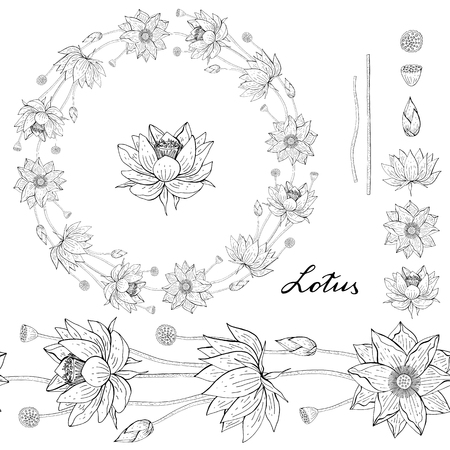 Black and white Wreath and seamless brush from lotus flower, floral round decoration border, botanical design elements