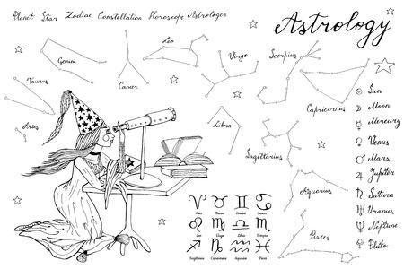 hand drawn stargazer astrologer girl and telescope