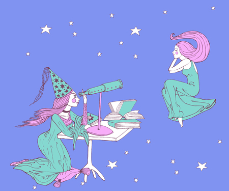 hand drawn stargazer astrologer girl with long hair and dress is looking to the telescope to dreaming woman in the sky