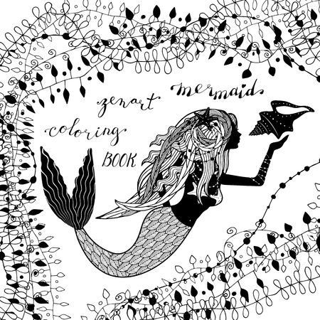 silhouette of mermaid holding conch shell and hand lettering