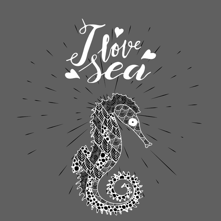 zen art style sea horse with handwritten lettering I love sea