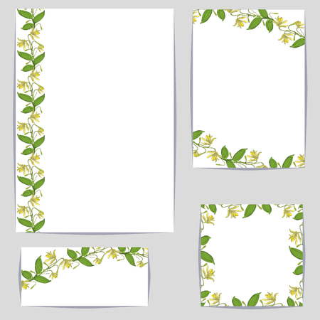 Corporate style templates with floral motifs on white background, orchid vanilla flower decoration