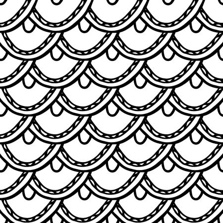 abstract doodle hand drawn monochrome seamless pattern with scale
