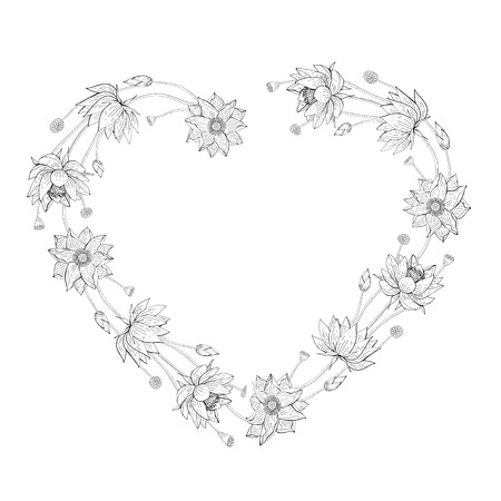 Wreath from lotus flowers, floral heart shaped decoration border, botanical design elements