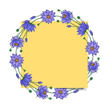 Wreath from lotus flowers, floral round decoration border, botanical design elements
