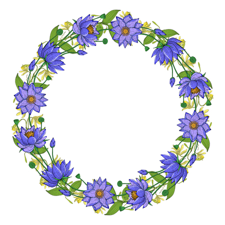 Wreath from vanilla orchid, lotus flower, floral round decoration border