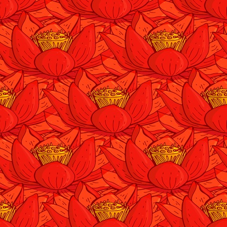 seamless floral pattern with the red lotus flowers
