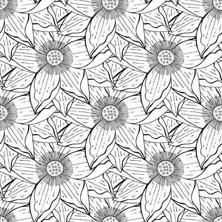 seamless floral pattern with a lotus flowers black and white