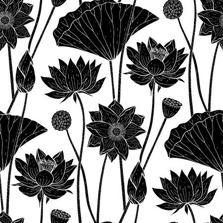 seamless floral pattern with black lotus flowers on white background