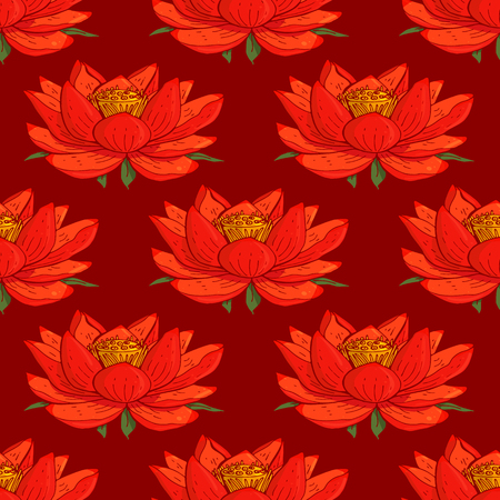 seamless floral pattern with lotus flowers Illustration
