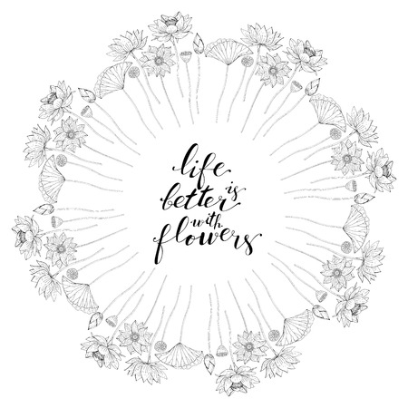 Card template with floral motif on white background, lotus flowers decoration, hand lettering life is better with flowers