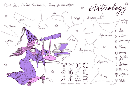 hand drawn stargazer astrologer girl with long hair and dress is looking to the telescope
