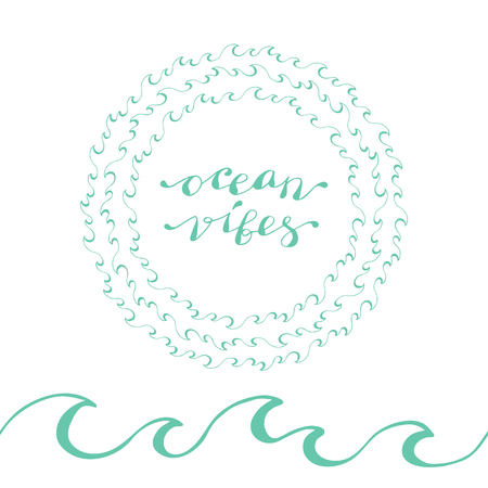 Hand lettering phrase ocean vibes in blue isolated on white background, seamless brush and wreath of waves