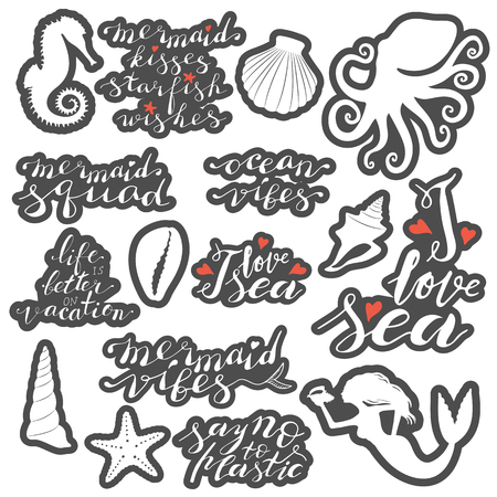 Hand lettering phrases stickers set in white with gray contour isolated on white background Ilustração