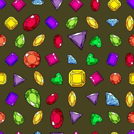 Modèle sans couture coloré avec des pierres précieuses et des diamants sur fond doré. illustration vectorielle stock Vecteurs