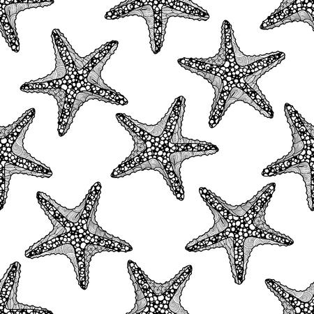 seamless zen art style pattern with starfish on white background. stock vector illustration.