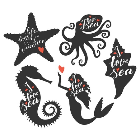Hand lettering phrases I love sea, life is better on vacation inside silhouettes Ilustração