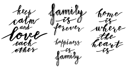Hand lettering phrases collection happiness is family, family is forever, home is where the heart is, keep calm and love each other in black isolated on white background Иллюстрация